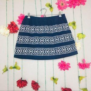 Madewell Baja Embroidered Blue Mini Skirt Size M